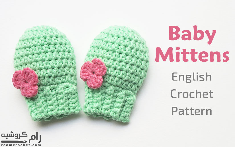 Decorate the mittens with crochet flowers - Raam Crochet